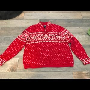 Lands' End red snowflake holiday Xmas sweater SzM